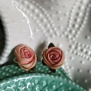 Vintage Pink Roses Silver Screwback Earrings